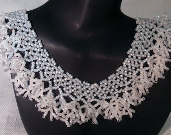 First Frost, Netted and Coral Fringed Necklace