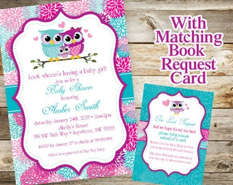 Owl Baby Shower Invitation, Baby Owl Invitation, Spring Baby Shower, Book Request Card, Girl Baby Shower, Baby Shower Invite, Printable