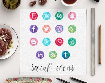 FOLLOW ME, Watercolor Social Media Buttons, Social Media Icons, Colorful Social Spots, Watercolor Icons, Website Branding, BUY5FOR8