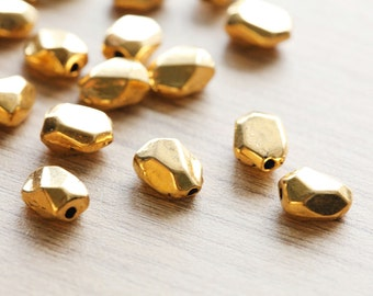 10 pcs of Antique Gold Nugget Faceted Tibetan Style Beads - 12 mm