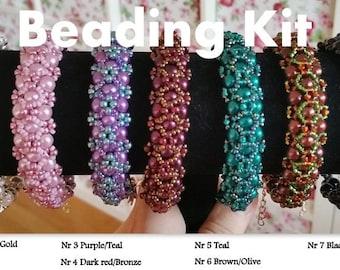 Beading kit + PDF-file Beading Pattern Amora Bracelet, Beading Tutorial by HoneyBeads1