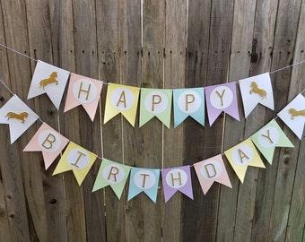 Unicorn happy birthday banner, unicorn banner, unicorn garland, rainbow banner, first birthday, baby shower, unicorn party, unicorn birthday