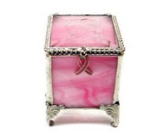 "Pink, Breast Cancer Awareness, Stained Glass Jewelry Box, Keepsake Box - 2x2x2.75"" Tall"