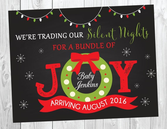Christmas Pregnancy Announcement Sign - Holiday Photo Prop - Big Brother Big Sister  - Bundle of Joy Announcement