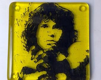 Jim Morrison Doors Singer Songwriter Fused Glass Coaster Lizard King Mojo Rising Poet