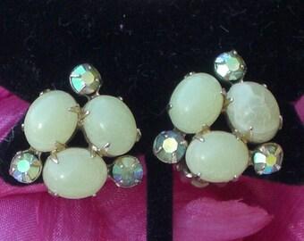 Earrings - Coro - Green Cabochons - Rhinestones - Vintage