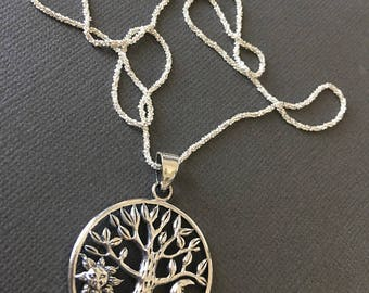 Silver Tree of life Necklace, balance in life, Silver bodhi tree necklace, Wisdom tree pendant, sparkling silver chain, muse411, silver