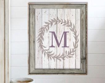 SALE-Family Last Name Monogram Wreath On White Barnwood- Art Print - Wall Art Designs- Gallery Wall- Decor- Art Print