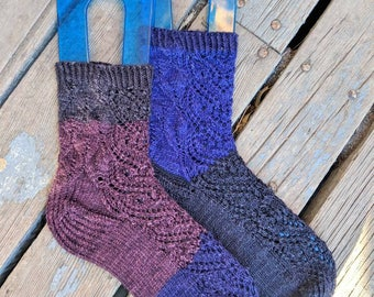 Hand Knit Socks, Women's Small, Natural, Merino Wool, Mulberry Silk, Mismatched, Lace, Owl, Multi color, Odd Socks, Patterned, Handmade