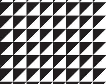 Black and White Fabric, Riley Blake C947 Black, Sashing Stash by Eleanor Dugan, Half Square Triangles Quilt Fabric, Geometric, Cotton