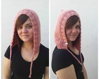 Pink wool hood, knit hood, pink hood, wool hood, knit pink hat, knit wool hat, wool pink hat, winter hat, hat braid, pink braid, OOAK hat