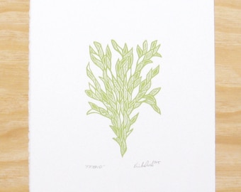"""Woodblock Print - """"Friend"""" Sprout Green - Plant Printmaking"""