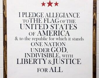 "Pledge of Allegiance 19.5""x19.5"""