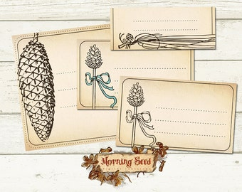 Printable label set 4 designs in 3 sizes - Natural labels, Price tag, Printable product tag download