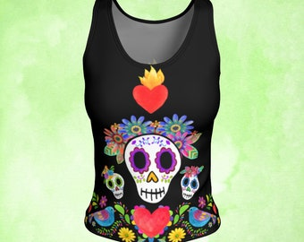 Tank top, Sugar Skull, Day of the Dead, Two Dove, Sacred Heart, Mexican embroidery, Workout top, Milagro heart, colorful top, colorful tank