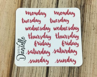 Weekday Word Sticker, Day of the Week Planner Sticker, Traveler Notebook Sticker, Bujo Sticker, Small set of 14 - Red