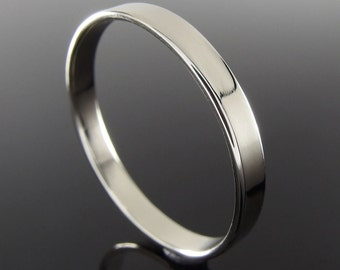 14k White Gold Wedding Ring, Flat Profile Rectangular Profile, 14k White Gold Wedding Band, White Gold Wedding Ring, Polished Finish