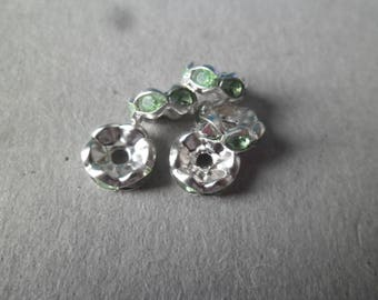 x 10 beads green rhinestone spacer rondelles 8 mm clear Crystal silver