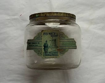 Vintage Heine's Blend Smoking Tobacco Jar, Original Label, Massillon, Ohio