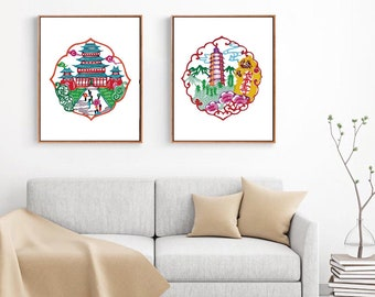 Chinese Paper Cutting Architecture Landscape set of 2, Chinoiserie design inspiration, craft, card, scrapbook, Wall Art, INSTANT DOWNLOAD