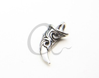 One Piece Sterling Silver Tooth Pendant - 31x13mm