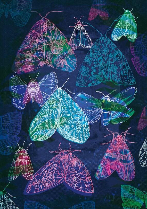 Floral Night Moths Archival Quality Wall Art Print moth illustration