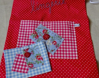 "Small ""dots"" red and white laundry bag"