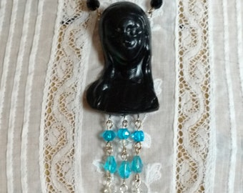 Memento Mori Victorian inspired weeping mother mourning necklace