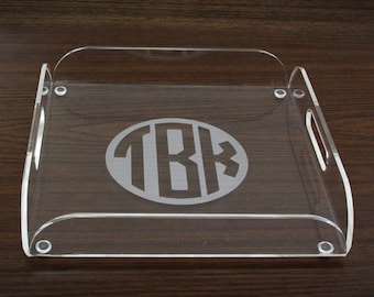 Personalized Acrylic Tray - Tray with Handles - Personalized Serving Tray - Monogrammed Acrylic Tray - Custom Personalized Gifts