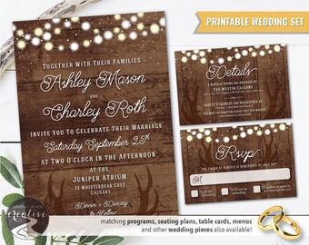 PRINTABLE Personalized Barnboard Antler String Lights Rustic Wedding Invitation Set, RSVP, Suite, Farmhouse, Wood, Antlers, Digital File