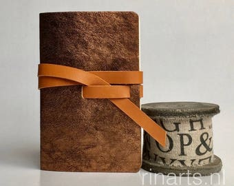 Leather travel journal / sketch book / leather notebook in bronze metallic leather and honey coloured strap. Personalized gift