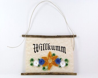 Willkumm, Pennsylvania Dutch Welcome, Paper Quilled Welcome Sign, 3D Quilled Banner, Yellow Blue White Decor, PA Dutch Gift, Rustic  Decor