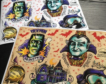 The Munsters Tattoo Flash A4 Sheet giclee print, Herman and Grandpa, hot rod, universal monsters, rockabilly, vintage, limited edition