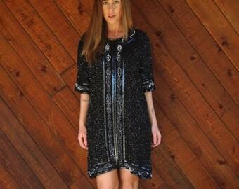 EXTRA 20% OFF SALE.... Black Beaded Silk Mini Shift Dress - Vintage 80s - Medium