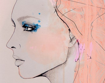 Fragmentary - Fashion Illustration Art Print, Portrait, Woman, Mix Media Painting by Leigh Viner