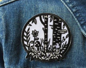 Woodland iron on patch, mushroom patch, floral patch, embroidered black and white patch, wild patch, garden patch