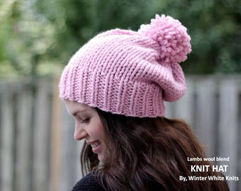 Pink knit hat, pom pom knit hat, winter hat, hand-knit slouchy hat, wool pink hat