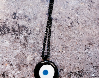 handmade, ceramic, evil eye, long pendant necklace