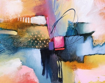 """Abstract Art  •  Original Oil Abstract Painting • 8.5"""" x  11"""" Original Contemporary Art  • COLOR MOTION SERIES #6 • Abstract Oil on Canvas"""