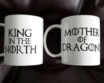Set of 2 his and hers hand painted mugs inspired by Game of Thrones