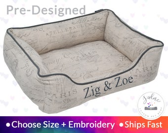 French Script Pet Bed - Dog Bed or Cat Bed | Classy, Grey, Natural, Taupe, Personalized | Washable, Reversible - Ships Fast!