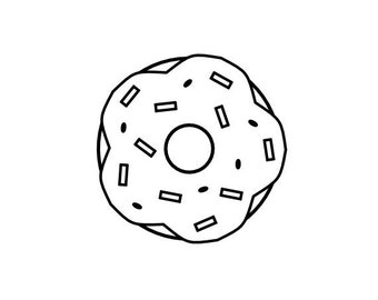 "Donut Stamp Doughnut Stamp, Donut with Sprinkles, Treat Stamp, Food Stationery, 1""x1"" (minis161)"