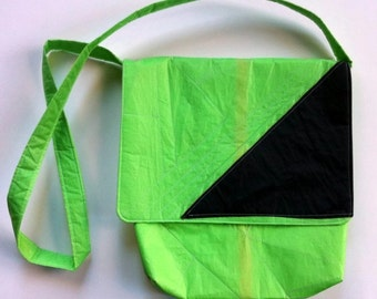 Lime Green Messenger Bag Recycled Paraglider Eco Friendly Vegan