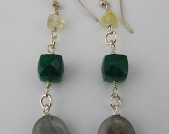 Mothers Day Sale Beautiful Citrine, Green Quartz, and Labradorite Silver Dangle Earrings