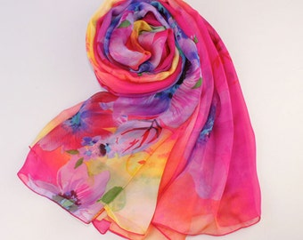 Deep Pink Silk Scarf with Large Floral Print - Floral Silk Chiffon Scarf - AS58