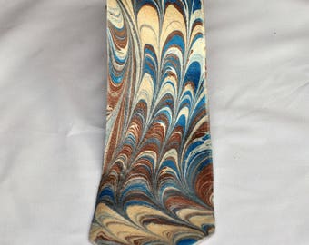 Men's  Neck Tie 100% Silk, Fall '17 Colors Man's Blue Potter's Clay Brown MM-17