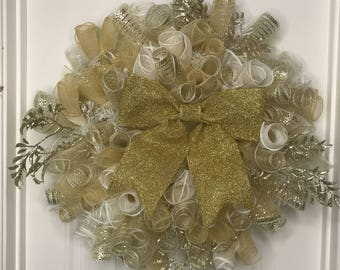 """Gold and White Metallic Mesh Holiday Wreath 20"""""""