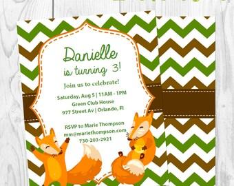 Fox Green Brown Birthday Invitation - Invite birthday party girl boy - Instant Download