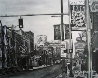Memphis TN Beale Street Art Print // Black and White Memphis Artwork // Beale St. Painting