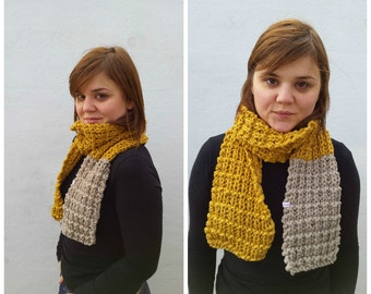 Yellow and beige knit cotton scarf, knit cotton scarf, yellow and beige scarf, knit yellow scarf, yellow cotton scarf, knit beige scarf